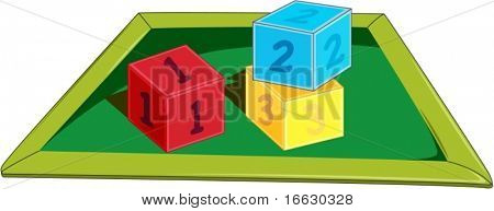 illustration of dice and board on white