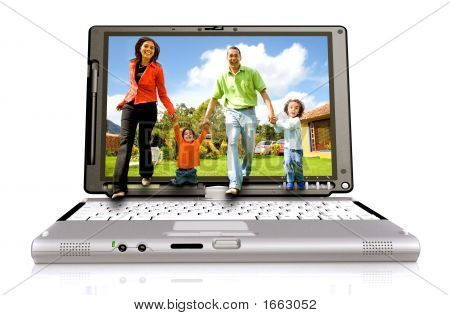 Happy Family Coming Out Of Laptop