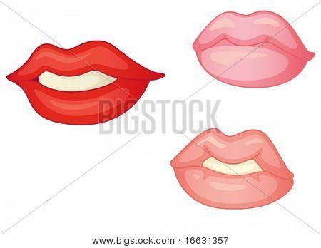 illustration of lips on white