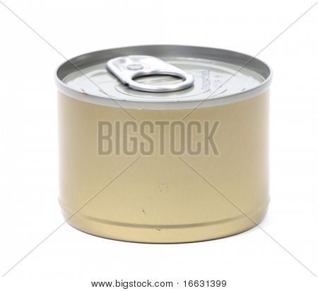 isolated tin can on white