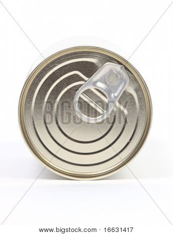 isolated lid of tin can on white