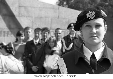 Teens In Uniform On The Victory Day
