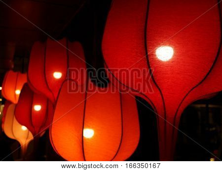 Chinese Style Red Cloth Lanterns at Night