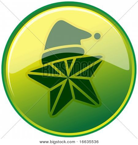 illustration of santaclause cap symbol in green circle
