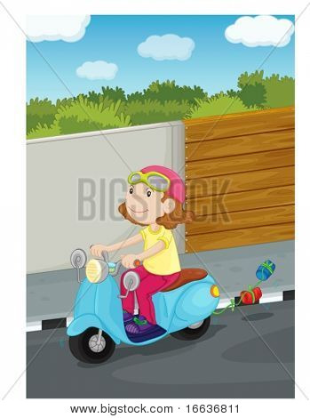 illustration of girl driving the scooter