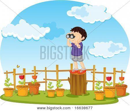 illustration of boy watching through binocular