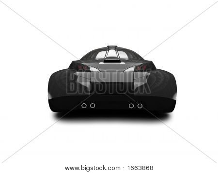 Isolated Black Super Car Back View 02