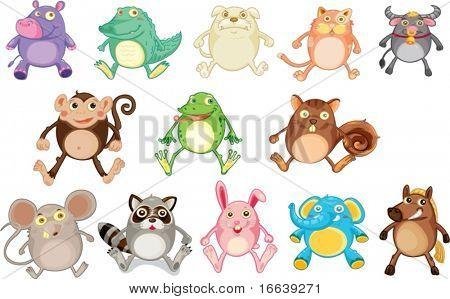 illustration of various animals on white