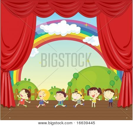 illustration of a kids on stage