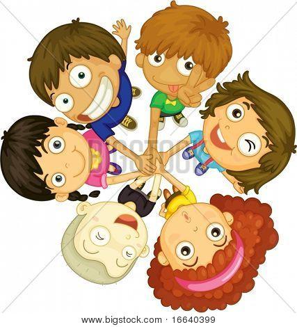 Abbildung der Kinder Gesichter auf weißem Hintergrund