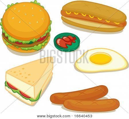 illustration of various food items on a white background