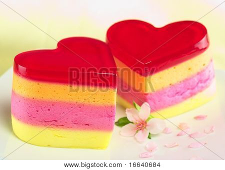 Colorful Peruvian heart-shaped jelly-pudding