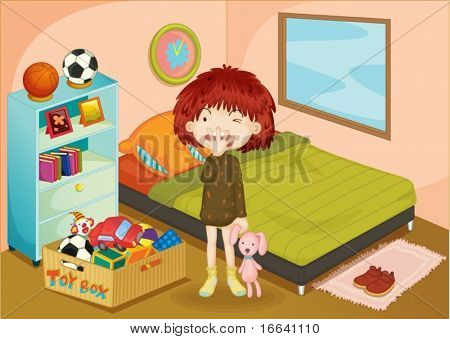 Illustration of a girl in a bedroom
