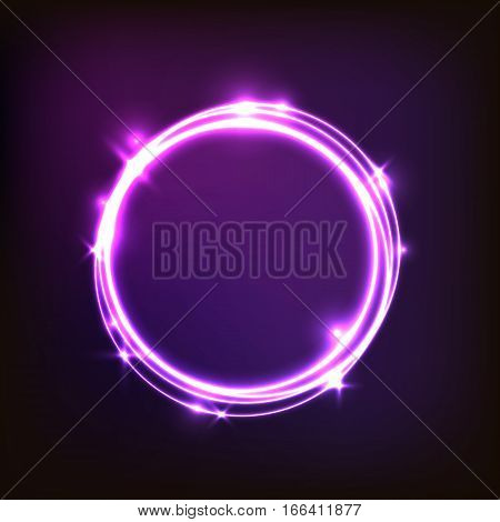 Abstract glowing purple background with circles, stock vector