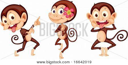 Illustration der drei Affen auf weißem Hintergrund