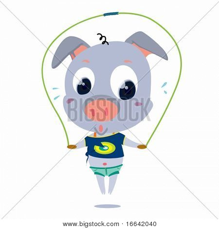 Illustration of a skipping pig on white background