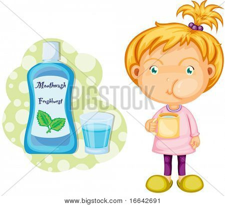 Illustration of a girl using mouth wasg on white background