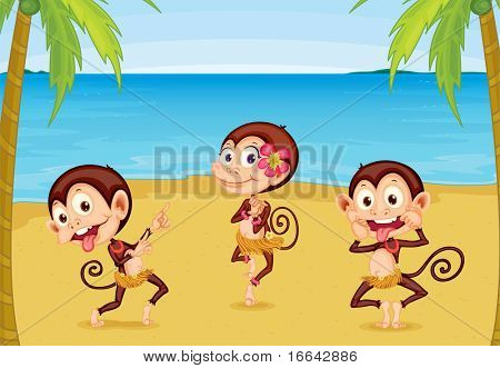 Illustration of Three Monkeys on a Beach on colorful background