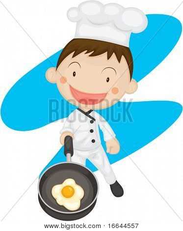 Illustration of a chef making omlet on a white background