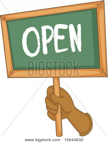 Illustration of a hand showing open board on white background