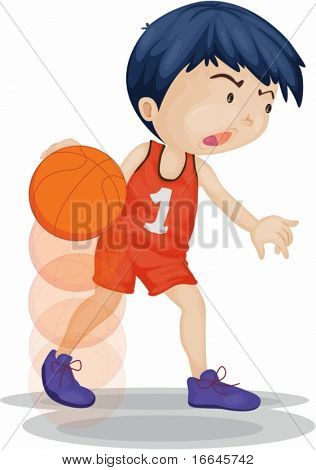 Illustration of A Boy Playing Basketball on white background
