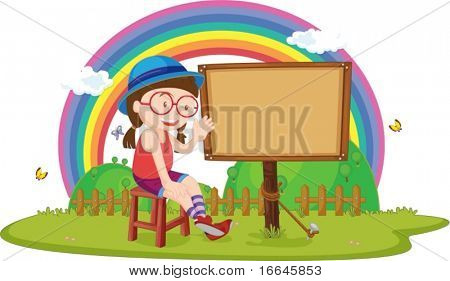Illustration of A Girl Sitting Near a Blank Board on white background