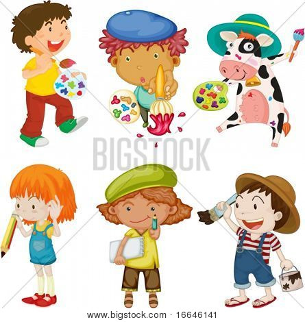 Illustration of Childrens and Animal With Painting Items on white background