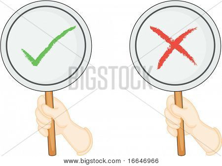Illustration of Hands Showing Right and Wrong Boards on white background