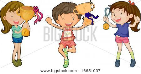 illustration of a trophy and kids on a white background