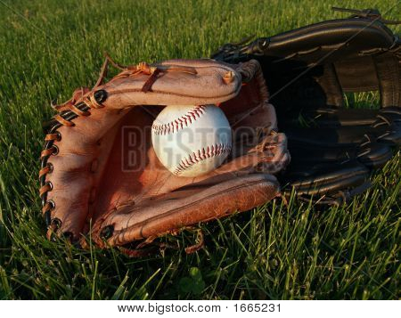 Adult And Child Baseball Gloves With Ball