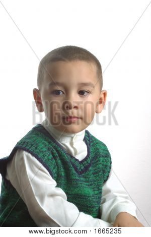 Boy Wearing A Green Sweater