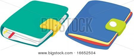 illustration of two diaries on a white background