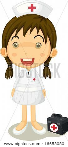 illustration of nurse and first aid box on a white background