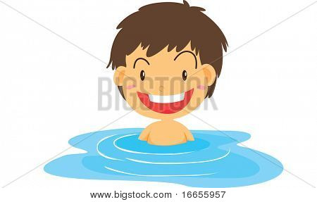 Illustration of boy swimming on a white background