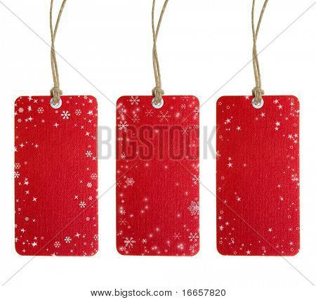 Christmas Tag Set One. Isolated on white.