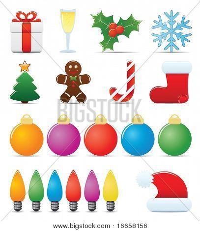 Weihnachten Symbolsatz. Leicht zu Vektor-Bild bearbeiten.