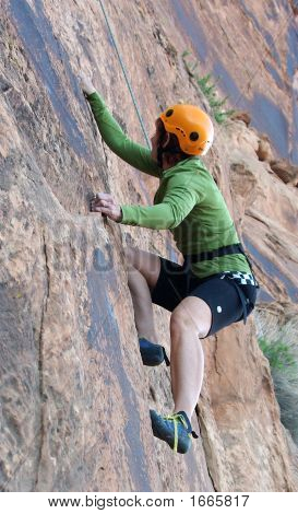 Climber On A Rock Wall