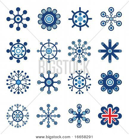 Retro Style Snowflakes Set. Easy To Edit Vector Image.