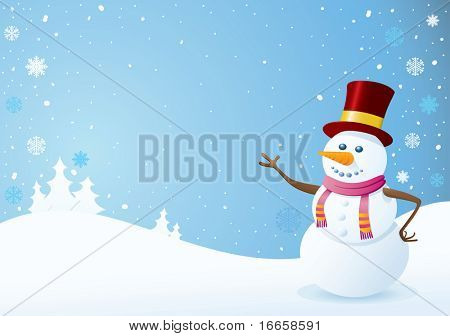Snowman on Christmas Background. Christmas Backgrounds Series.