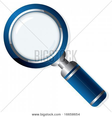 Vector Blue Magnifying Lens Isolated On White Background