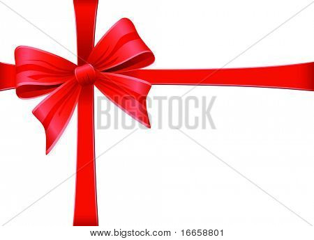 Highly Detailed Red Bow. Vector Decoration Collection.