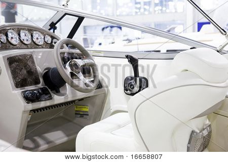 Front Side Of A Small Yacht: Control Board And Chair