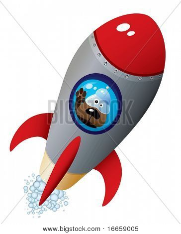 Cartoon Dog Astronaut In Old Style Spaceship