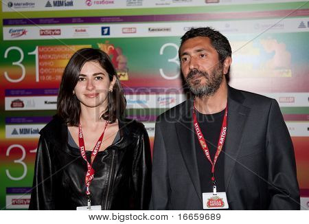 MOSCOW - JUNE,26: Actress Nesrin Cevadzade and Director Cemal San. Press Conference. 31st Moscow International Film Festival at Khudozhestvenny Cinema. June 26, 2009 in Moscow, Russia.