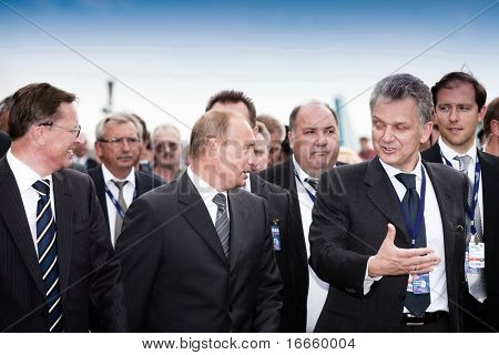 MOSCOW, RUSSIA, AUGUST,18: Prime Minister of Russia Vladimir Putin (c) at the International Aviation and Space salon MAKS,  August,18, 2009 at Zhukovsky, Russia.