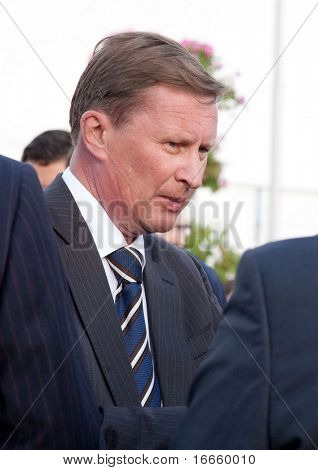 MOSCOW - AUGUST,18: Deputy Chairman of the Government of the Russian Federation Sergey Ivanov at the International Aviation and Space salon MAKS August 18, 2009 in Zhukovsky, Russia.