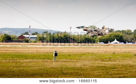 Military Airplane On Runway. International Aviation and Space salon MAKS 2009