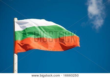 Bulgarian flag against blue sky