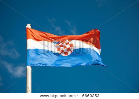 Croatian flag against blue sky