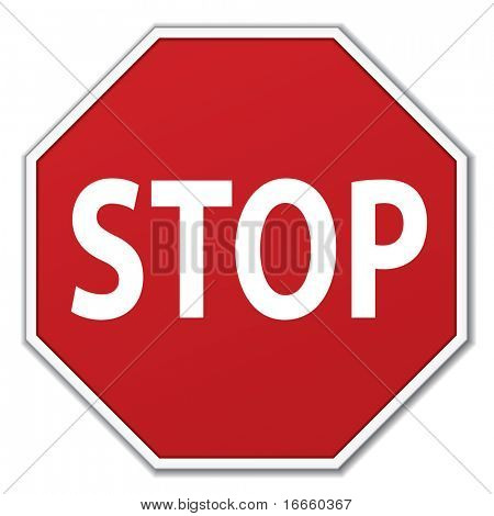 Vector Traffic Stop Sign Over White Background
